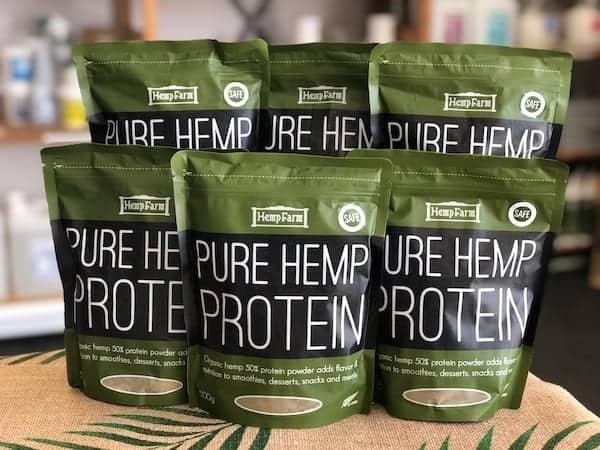 The Hemp Farm hemp protein powder in bags