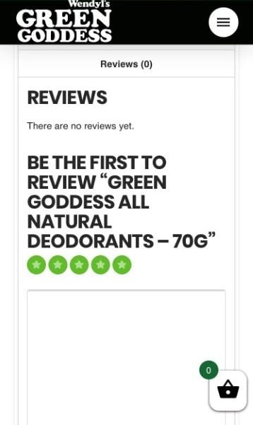 screenshot of leaving a review on our website 2